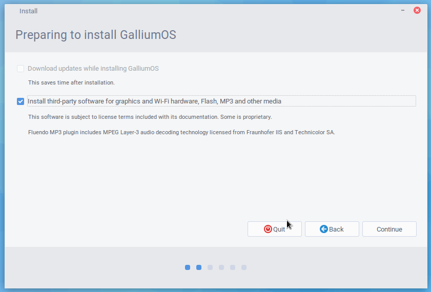 Options to check for downloading and third-party during Gallium installation
