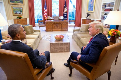 Obama and Trump in the White House. Obama is on the left.
