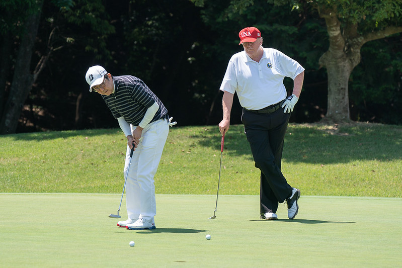 Trump playing golf with Japanese Prime Minister Shinzo Abe