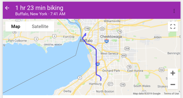 Map of bike ride to Bills stadium