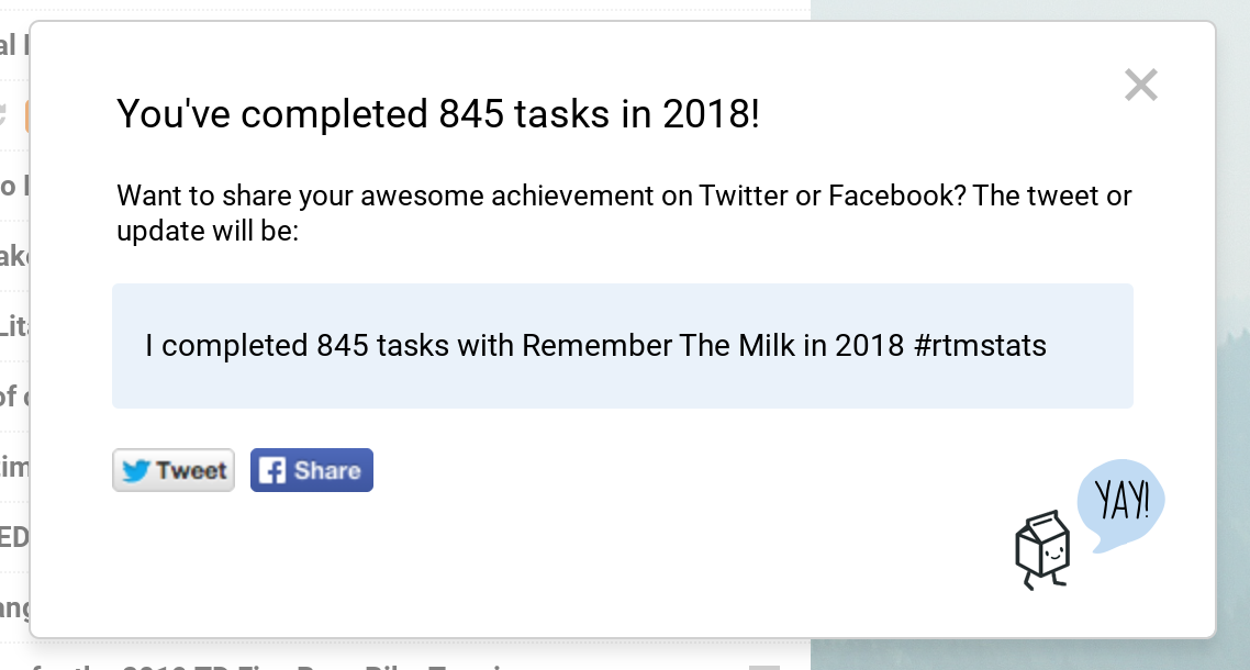 I completed 845 tasks in 2018