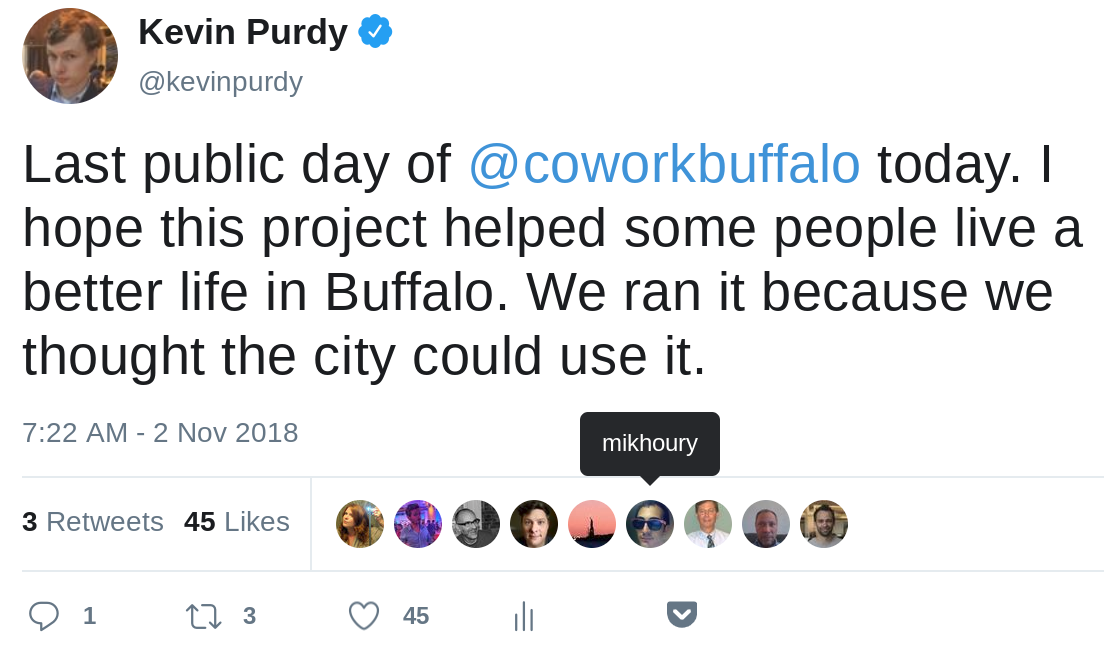 Last public day of @coworkbuffalo today. I hope this project helped some people live a better life in Buffalo. We ran it because we thought the city could use it.