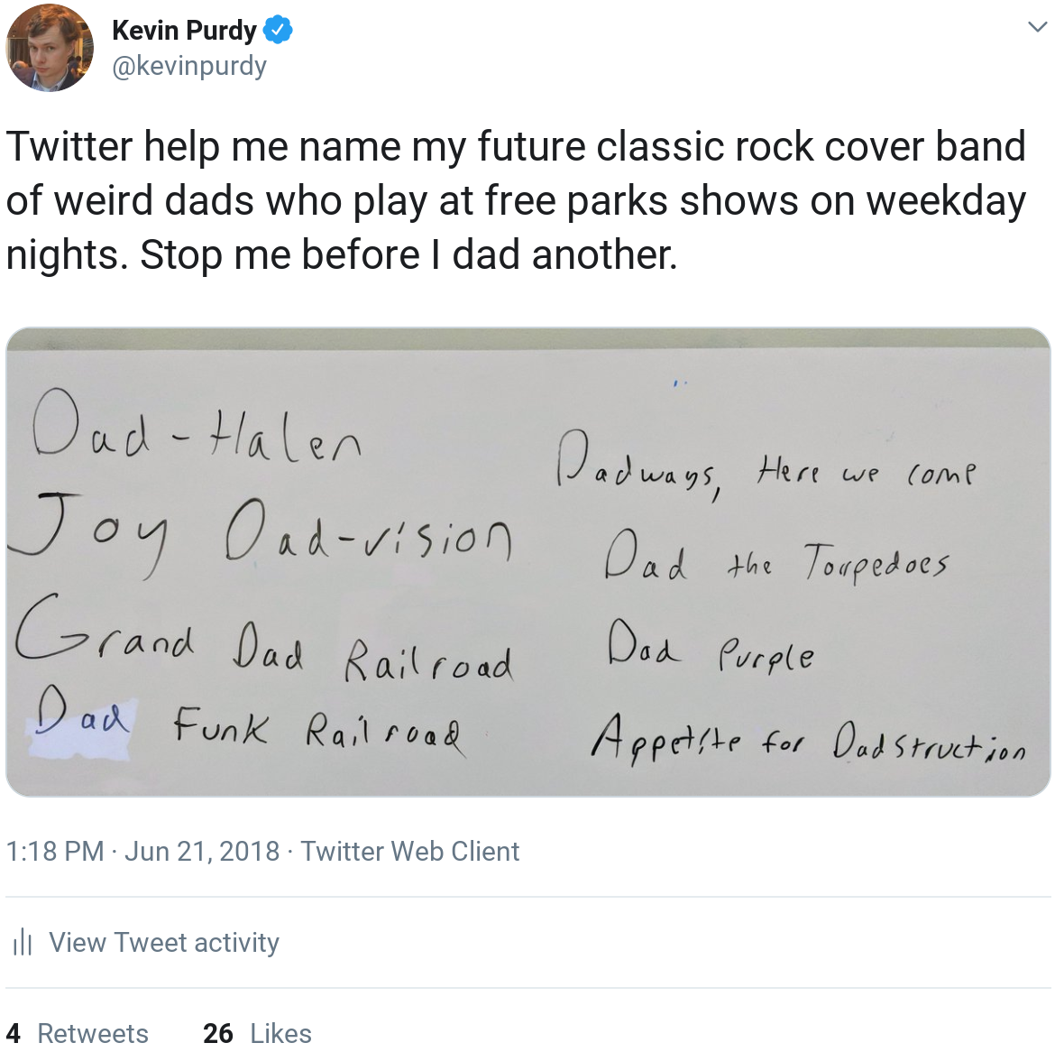 Twitter help me name my future classic rock cover band of weird dads who play at free parks shows on weekday nights. Stop me before I dad another.