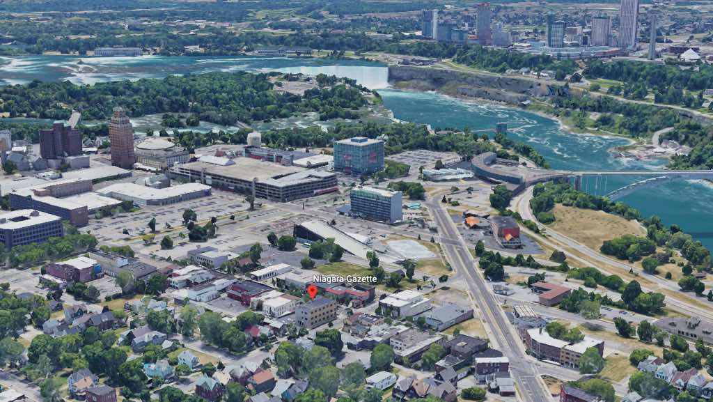 Niagara Gazette on Google Earth view, Niagara Falls in background