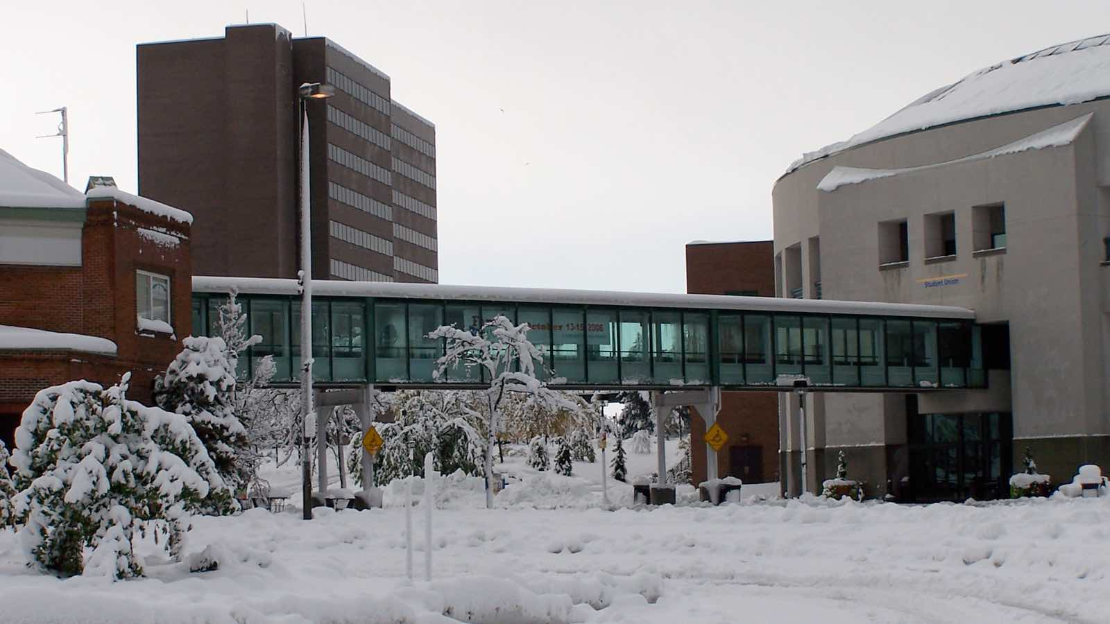 University at Buffalo, facing Clemens Hall, the Student Union, and Commons