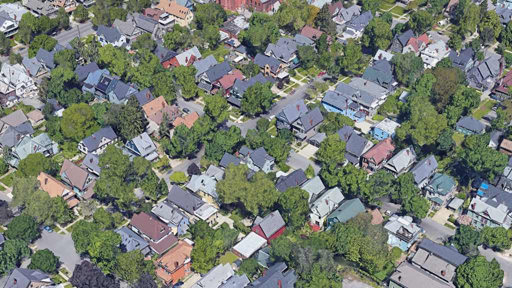 Overhead view of Elmwood Village in Buffalo NY